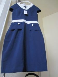 rochie Fever albastru cu alb