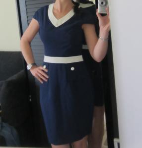 rochie bussines albastru cu alb